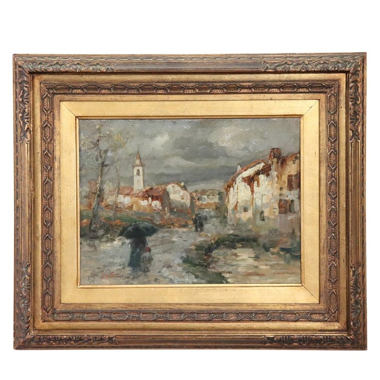 19th Century Important Italian Artis Oil Painting on Hardboard Landscape For Sale