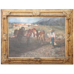 19th Century Important Italian Artist Oil Painting on Canvas, Horses at Rest