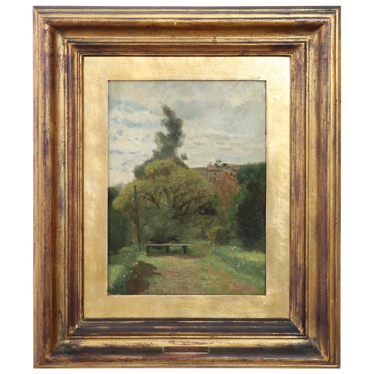 19th Century Important Italian Artist Oil Painting on Canvas Landscape