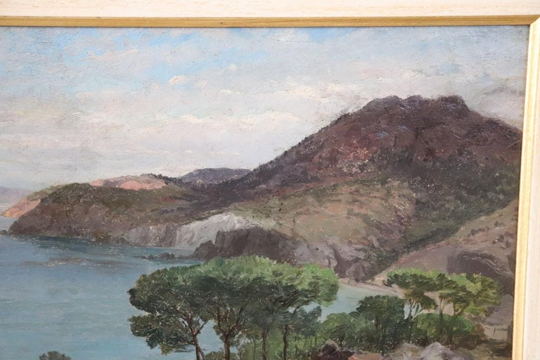 Oiled 19th Century Important Italian Artist Oil Painting on Wood Landscape For Sale