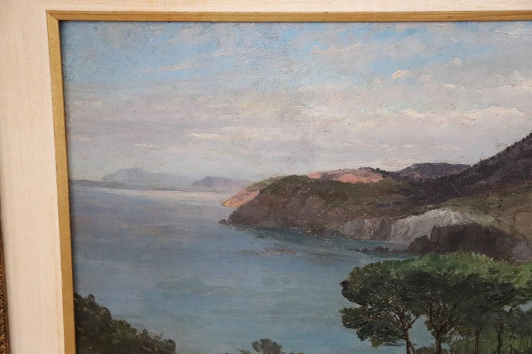 19th Century Important Italian Artist Oil Painting on Wood Landscape In Good Condition For Sale In Bosco Marengo, IT
