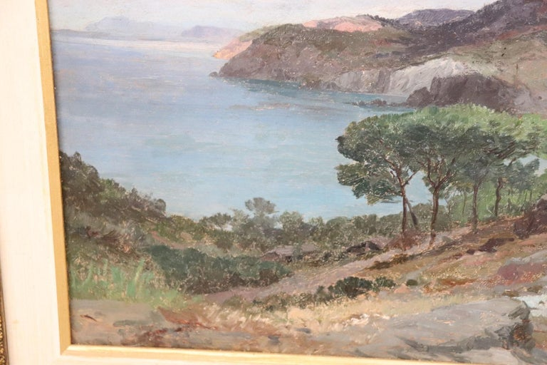 Late 19th Century 19th Century Important Italian Artist Oil Painting on Wood Landscape For Sale
