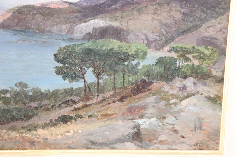 19th Century Important Italian Artist Oil Painting on Wood Landscape For Sale 1
