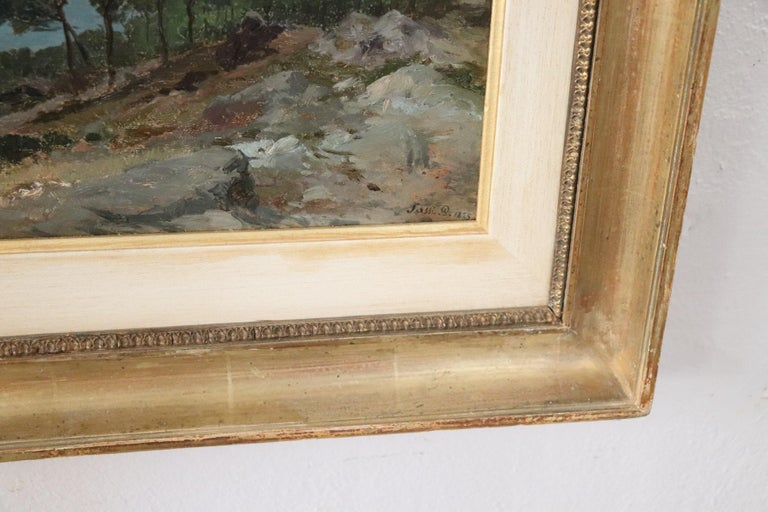 19th Century Important Italian Artist Oil Painting on Wood Landscape For Sale 4