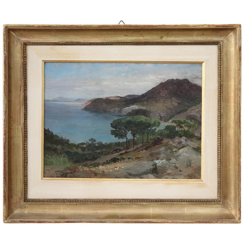 19th Century Important Italian Artist Oil Painting on Wood Landscape