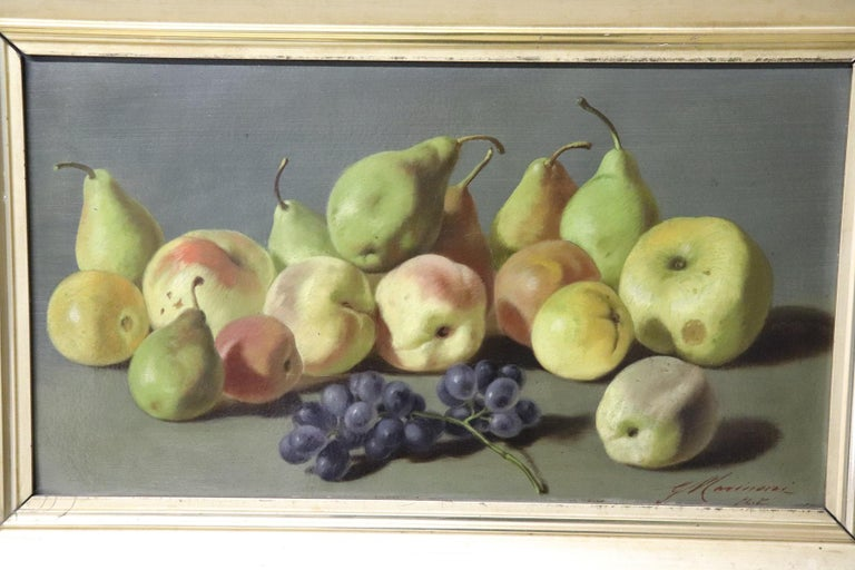 Beautiful oil painting on Masonite stone. Excellent pictorial quality. Signed by an Italian important artist Giovanni Antonio Marinoni. a beautiful still life with fruits made in a natural way the fruit looks real. Attention to the export of this