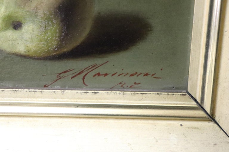 Oiled 19th Century Important Italian Artist Oil Painting Still Life with Fruit, Signed For Sale