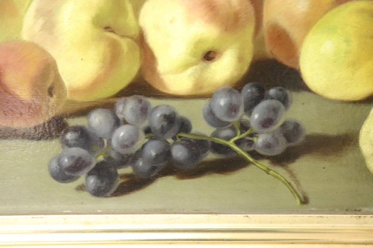 Mid-19th Century 19th Century Important Italian Artist Oil Painting Still Life with Fruit, Signed For Sale
