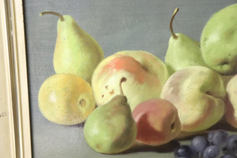 Wood 19th Century Important Italian Artist Oil Painting Still Life with Fruit, Signed For Sale