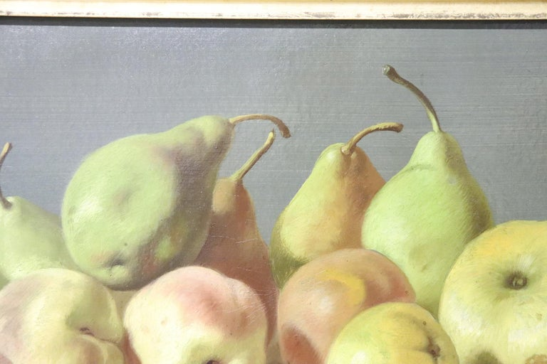 19th Century Important Italian Artist Oil Painting Still Life with Fruit, Signed For Sale 1