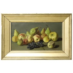 19th Century Important Italian Artist Oil Painting Still Life with Fruit, Signed