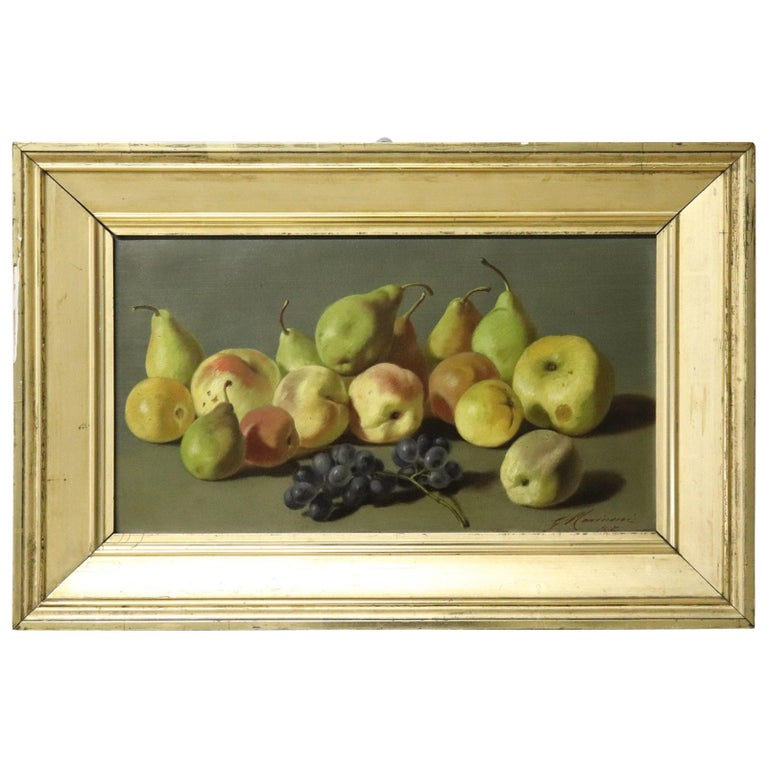 19th Century Important Italian Artist Oil Painting Still Life with Fruit, Signed For Sale