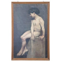 19th Century Important Italian Artist Portrait of Naked Child, Signed