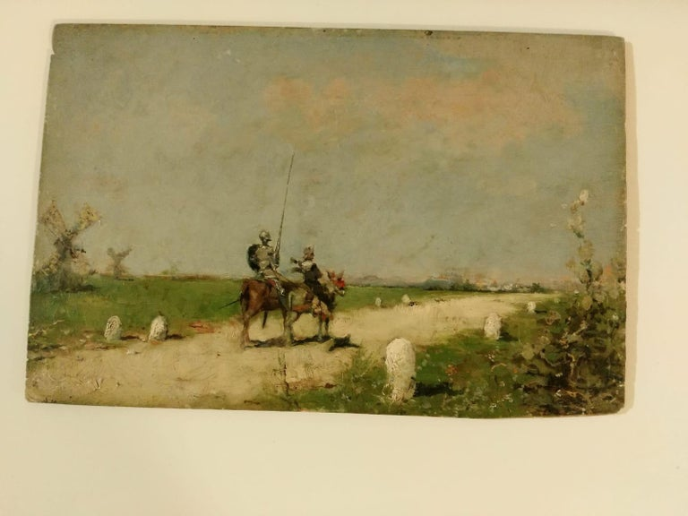 Other 19th Century Impressionist Oil Painting Don Quixote De La Mancha For Sale
