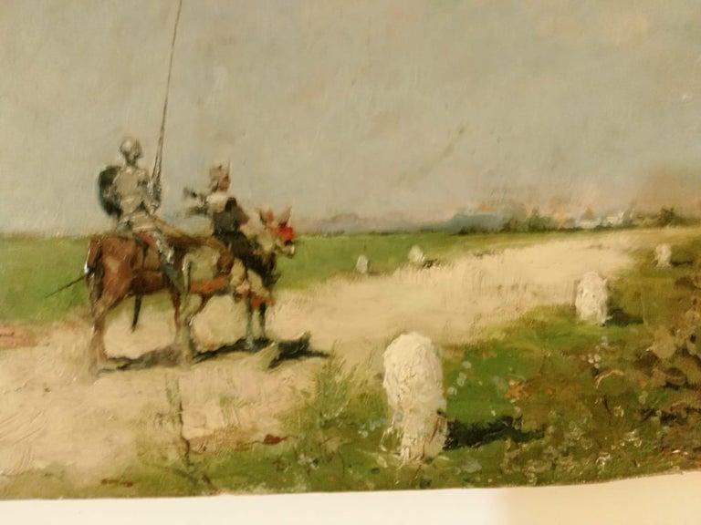 French 19th Century Impressionist Oil Painting Don Quixote De La Mancha For Sale