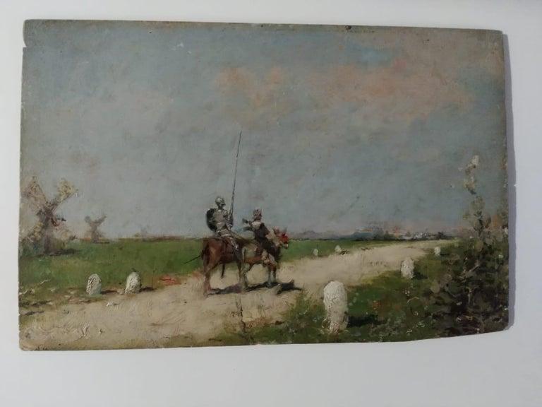 Oiled 19th Century Impressionist Oil Painting Don Quixote De La Mancha For Sale