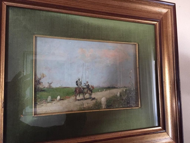 19th Century Impressionist Oil Painting Don Quixote De La Mancha In Excellent Condition For Sale In Rome, IT