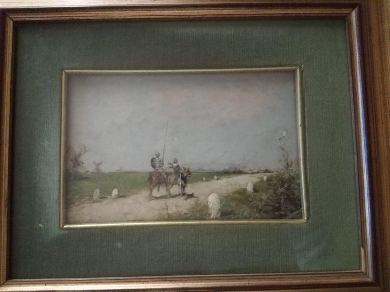 19th Century Impressionist Oil Painting Don Quixote De La Mancha For Sale 1