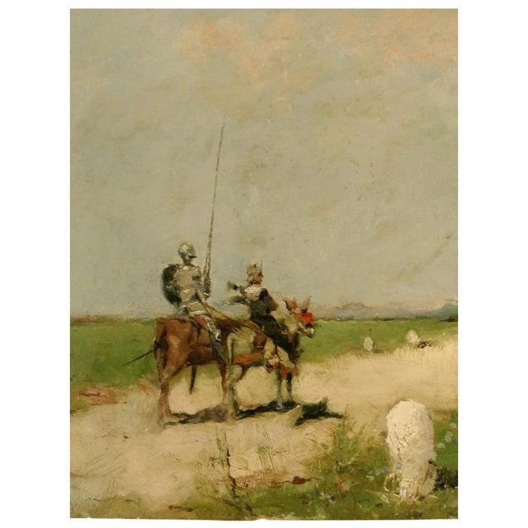 19th Century Impressionist Oil Painting Don Quixote De La Mancha For Sale