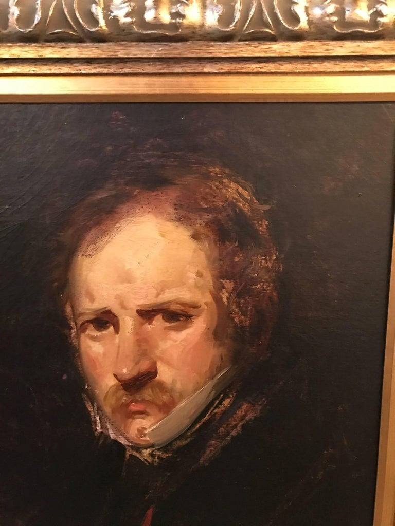 Oil on canvas portrait of a gentleman. The painting is later 19th century, the carved wood frame is more recent. The frame is a silver gilt with a gold gilt liner, very nice contrast to a quality frame. Measurement unframed is 19 inches high, 15