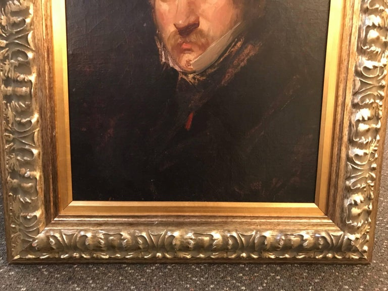 German 19th Century Impressionist Oil Painting Portrait of a Gentleman For Sale