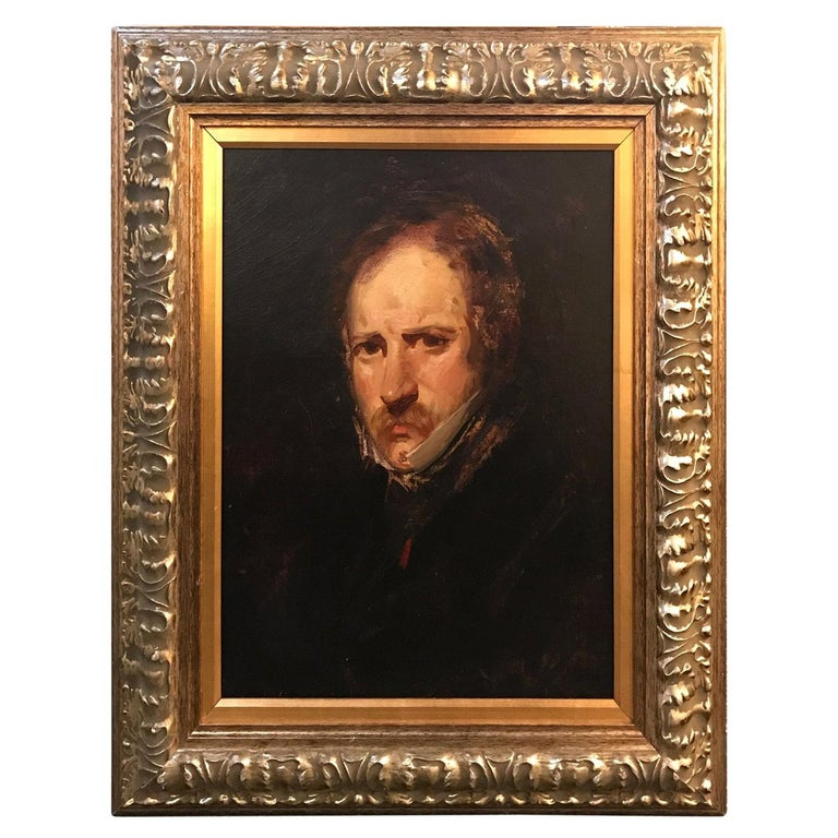 19th Century Impressionist Oil Painting Portrait of a Gentleman For Sale
