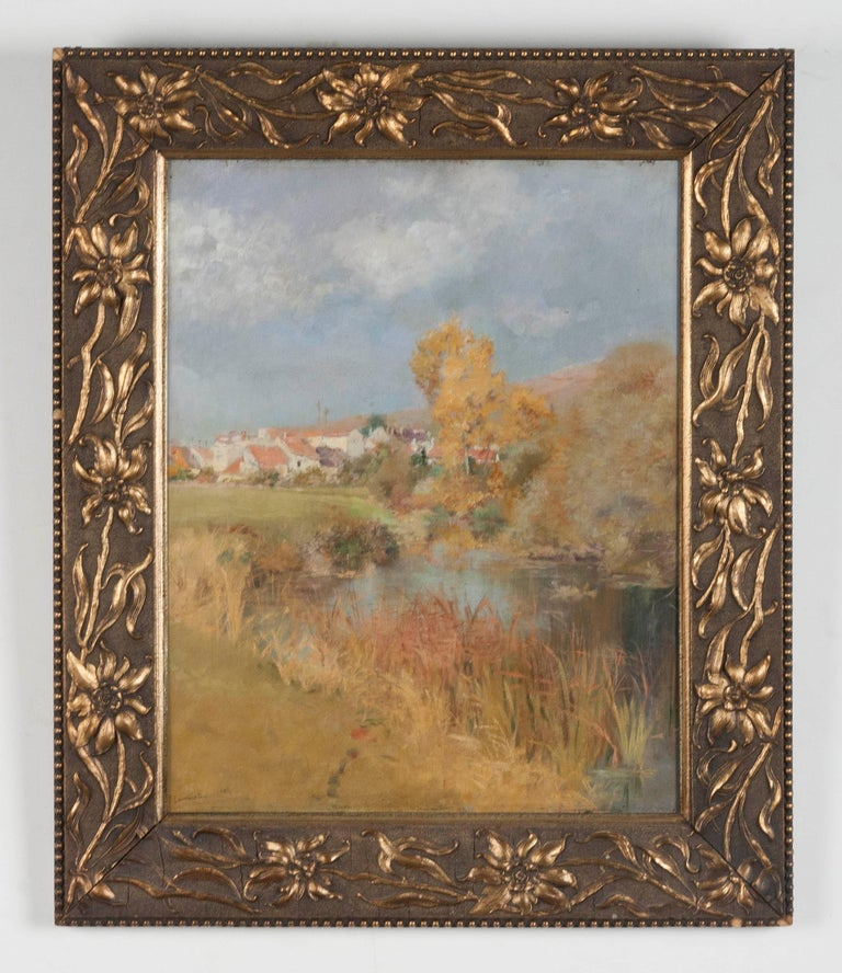 Impressionist painting by the Swiss painter Jeanniot. It is oil on a mahogany panel, the painting is signed in the lower left and dated 1884. On the back is a label, presumably stuck on it by a previous owner, with information about the