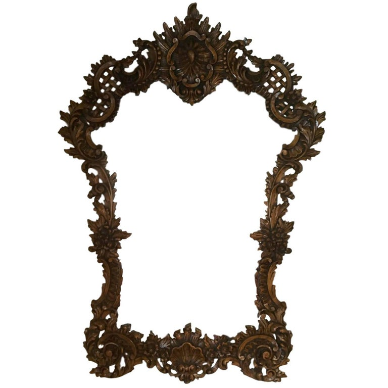 19th Century Impressively Carved Oak Ballroom Mirror in the Flemish Manner