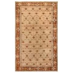 19th Century Indian Agra Beige and Brown Rug 'Size Adjusted'