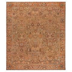 19th Century Indian Amritsar Brown, Beige & Salmon Wool Rug