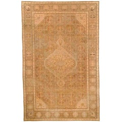 19th Century Indian Amritsar Caramel, Gray, Peach and Green Wool Rug
