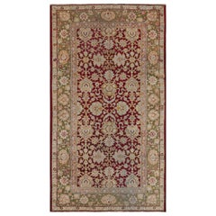 19th Century Indian Amritsar Red and Olive Green Hand Knotted Wool Rug