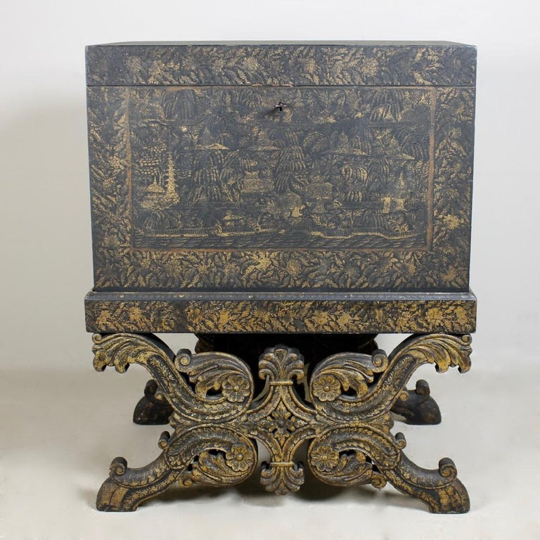 19th Century Indian Bareilly Utter Pradesh Circa 1850 Chinoiserie Chest On Stand At 1stdibs