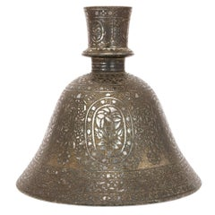 19th Century Indian Bidri Metal Hookah Base