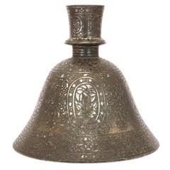 19th Century Indian Bidri Metal Hookah Base