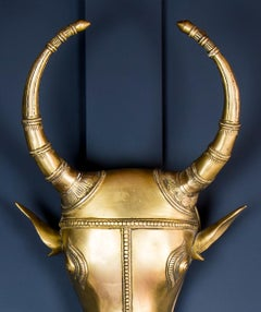 19th Century Indian Brass Cow Head Wall Hung