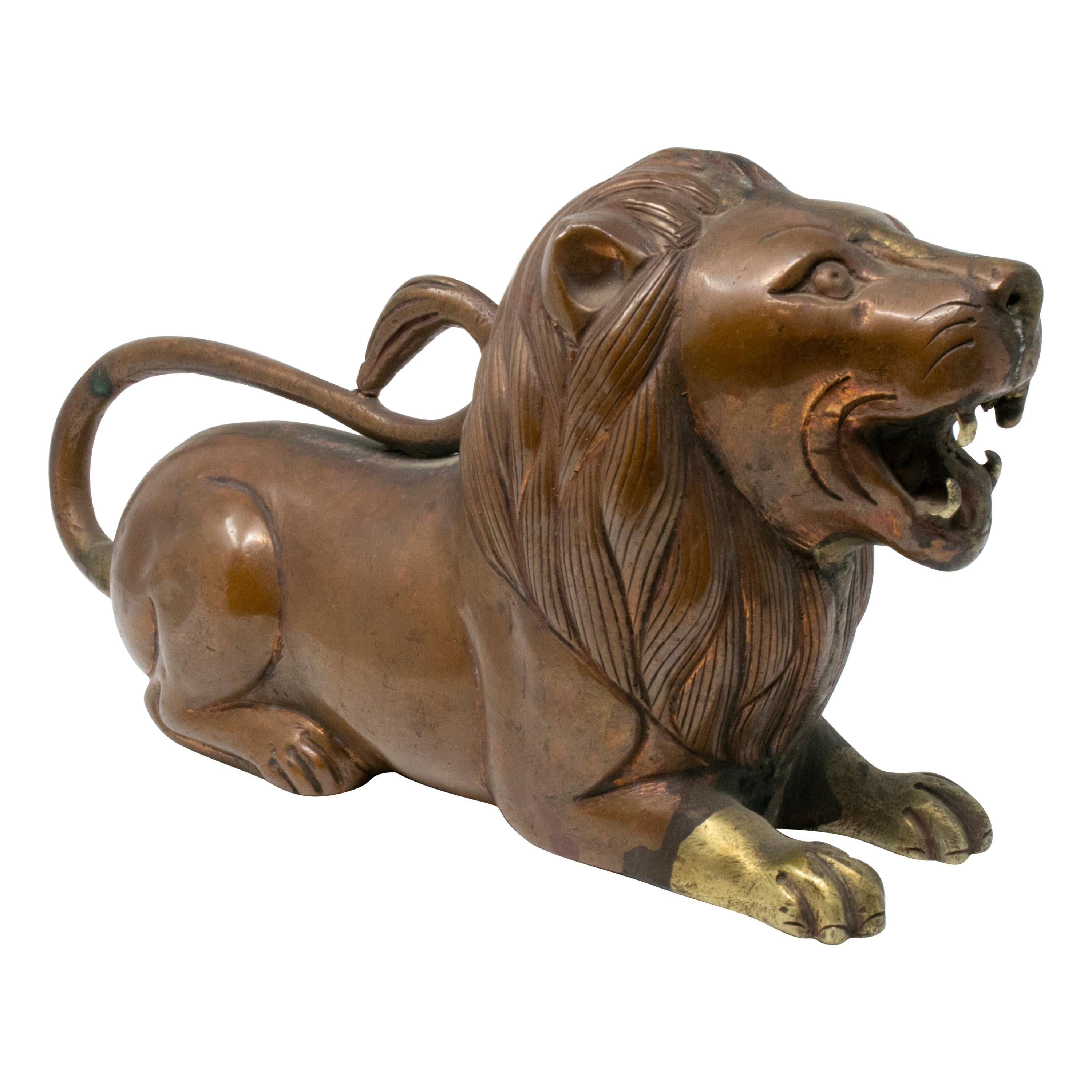 19th Century Indian Bronze Sculpture of a Lying Lion