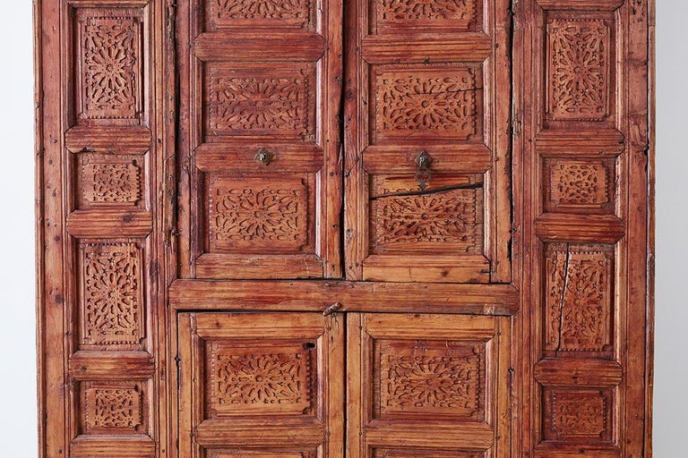 19th Century Indian Carved Panel with Shutter Windows For Sale 5