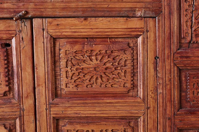 19th Century Indian Carved Panel with Shutter Windows For Sale 7