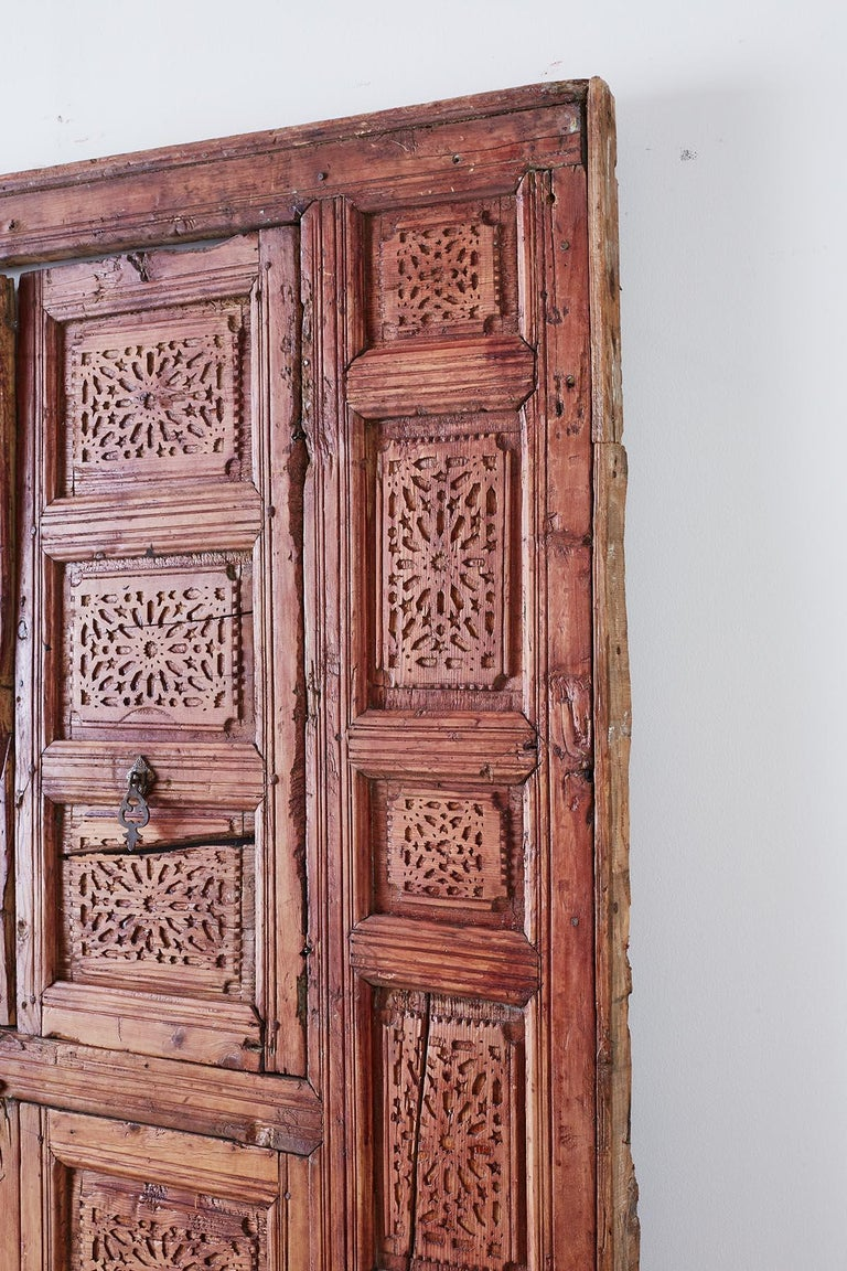 19th Century Indian Carved Panel with Shutter Windows For Sale 11