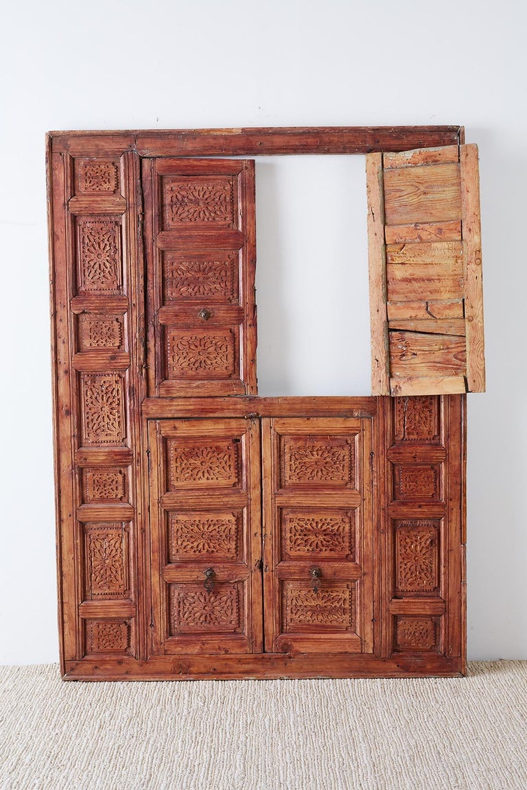 19th Century Indian Carved Panel with Shutter Windows For Sale 12