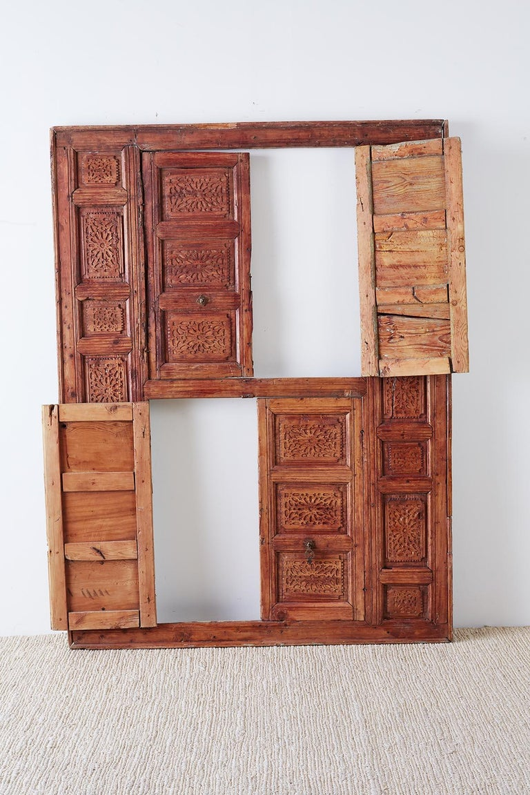 19th Century Indian Carved Panel with Shutter Windows For Sale 13
