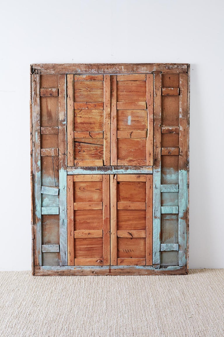 19th Century Indian Carved Panel with Shutter Windows For Sale 14