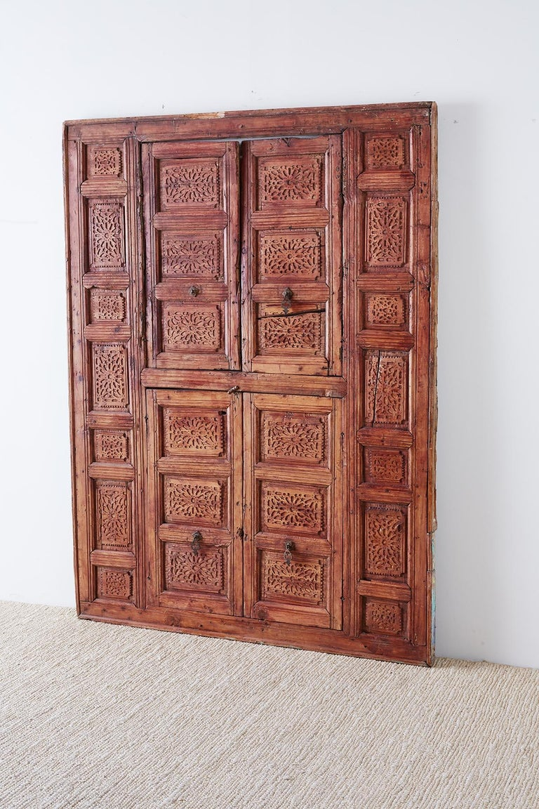 Anglo-Indian 19th Century Indian Carved Panel with Shutter Windows For Sale
