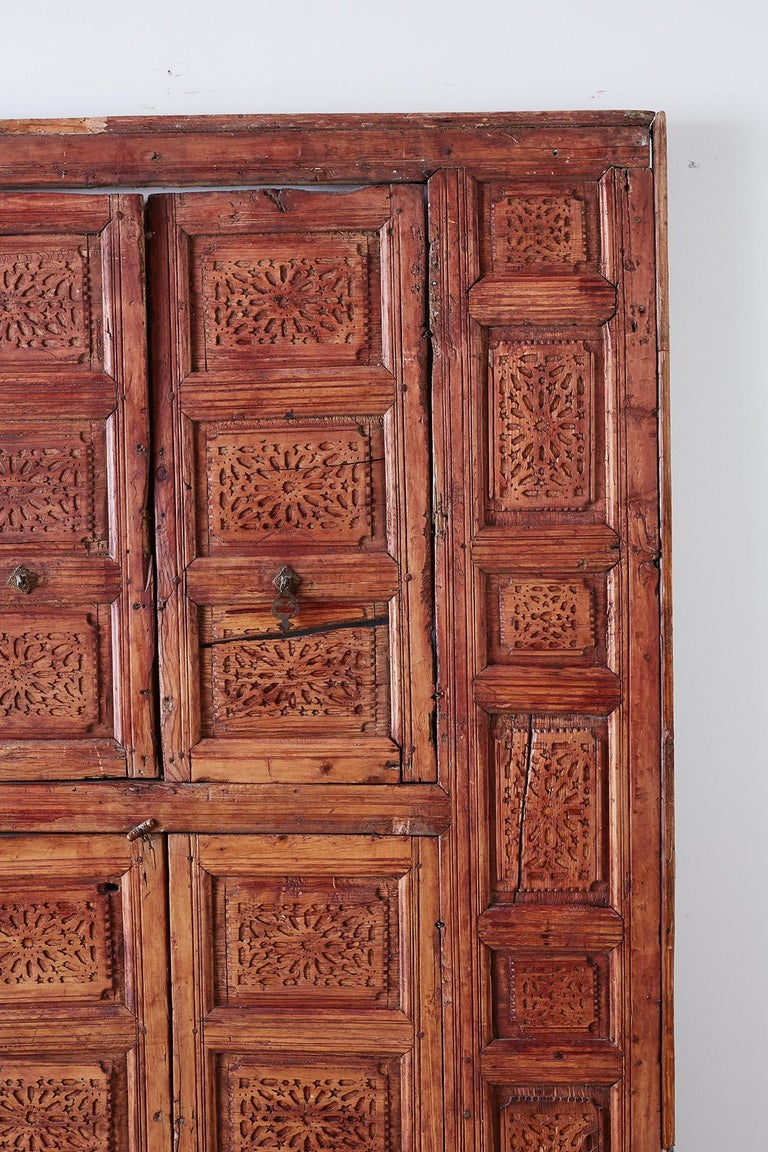 Brass 19th Century Indian Carved Panel with Shutter Windows For Sale