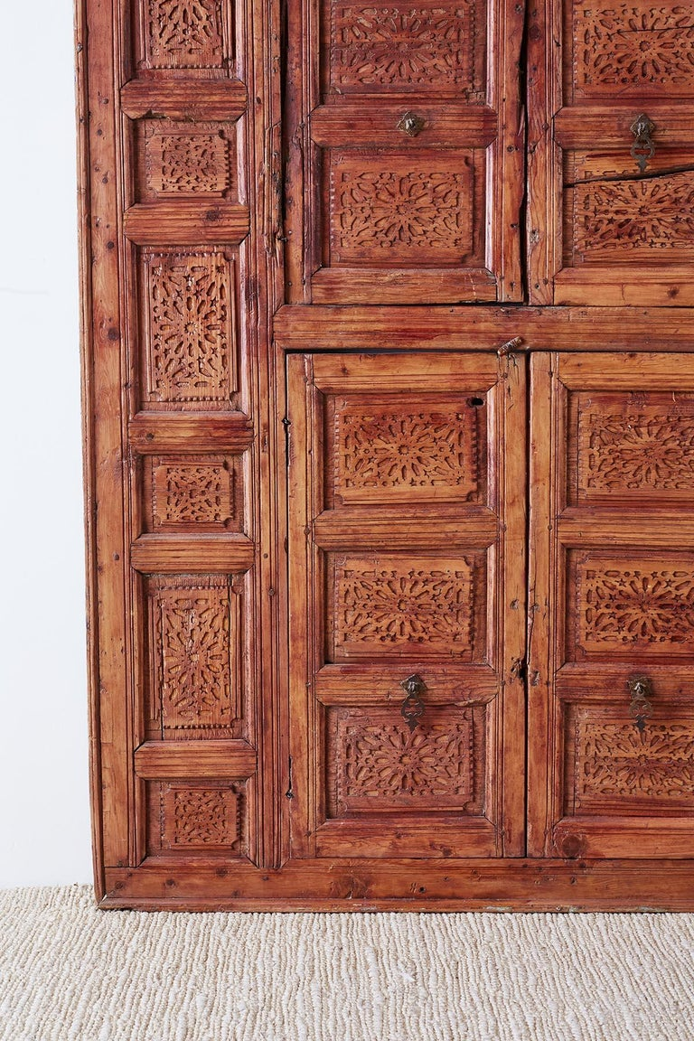 19th Century Indian Carved Panel with Shutter Windows For Sale 1