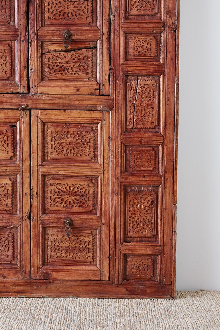 19th Century Indian Carved Panel with Shutter Windows For Sale 2