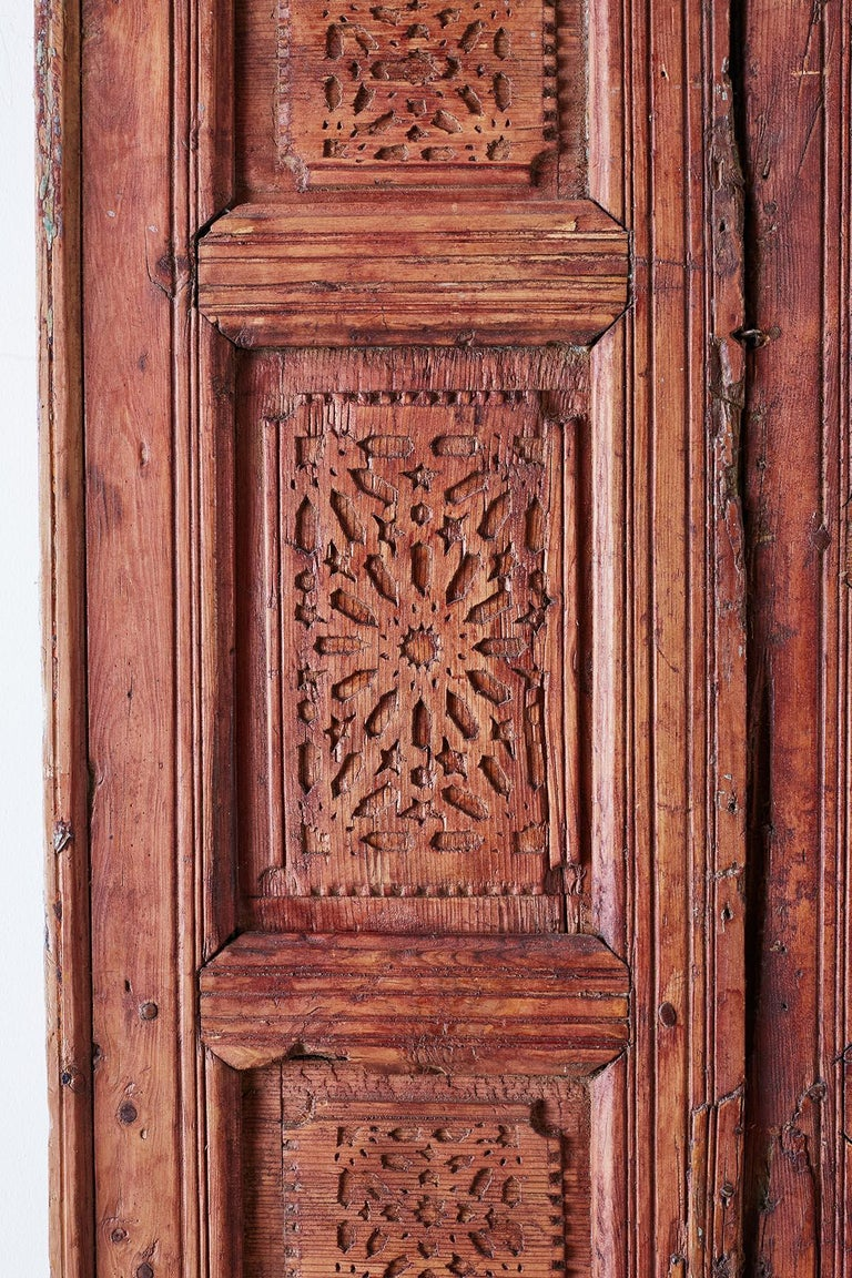 19th Century Indian Carved Panel with Shutter Windows For Sale 3