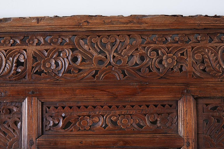 19th Century Indian Carved Wood Panel Window Surround For Sale 5