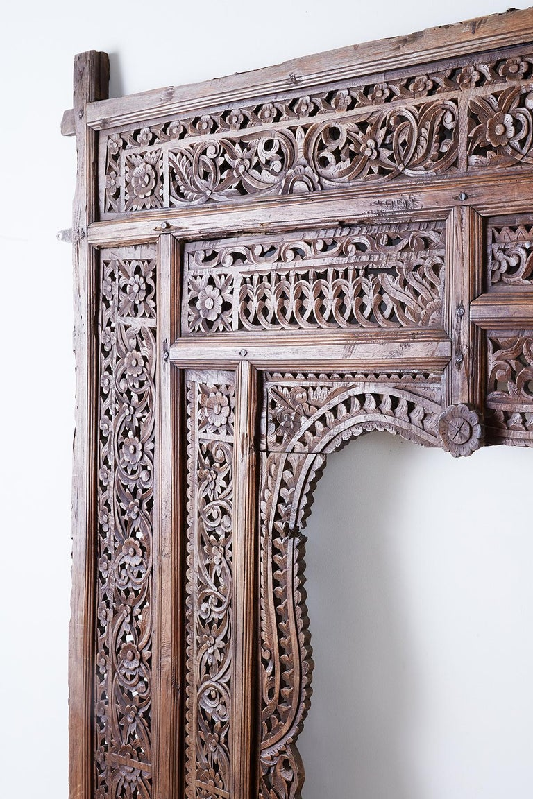 19th Century Indian Carved Wood Panel Window Surround For Sale 7